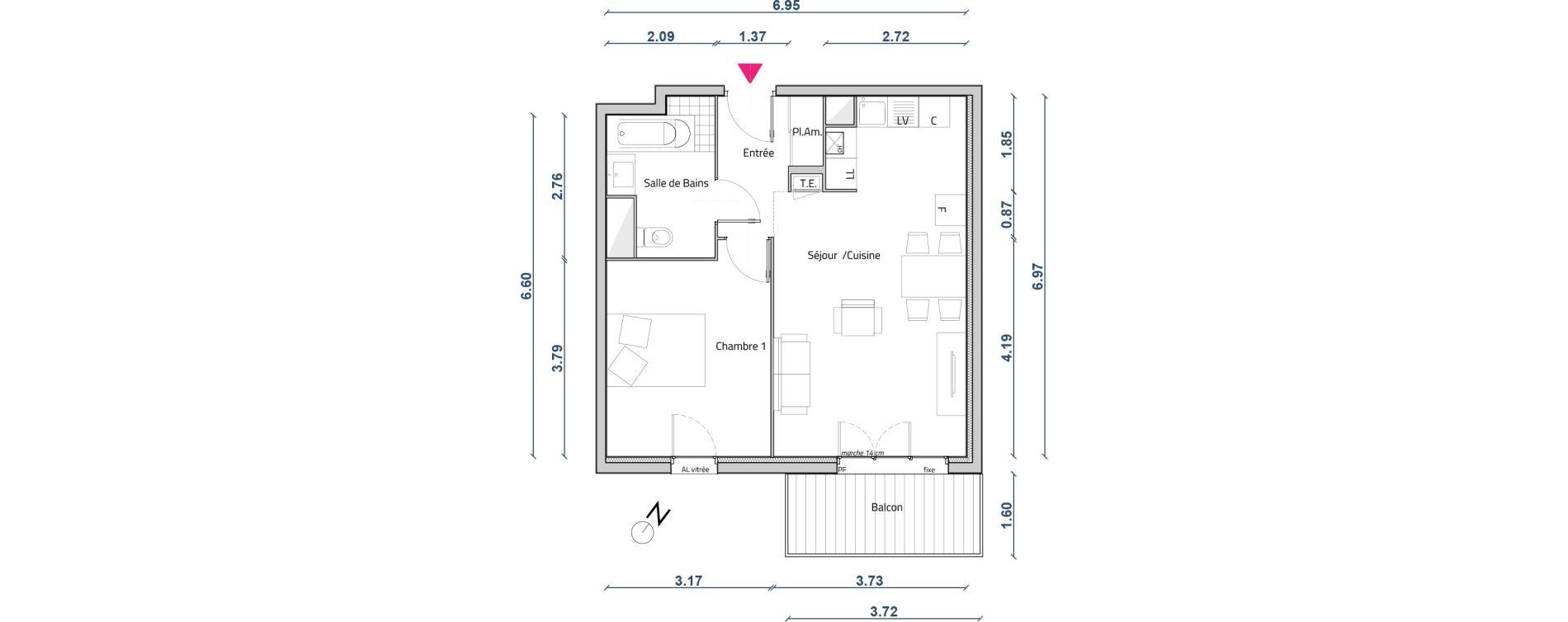 Appartement T2 de 45,96 m2 à Corbas Centre