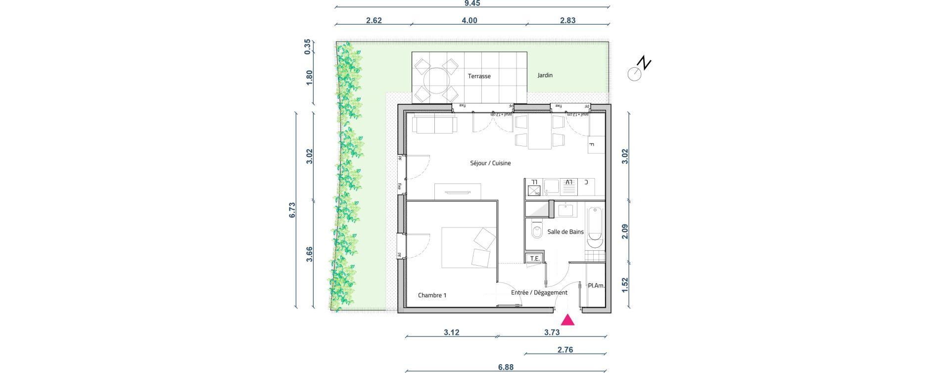 Appartement T2 de 44,30 m2 à Corbas Centre