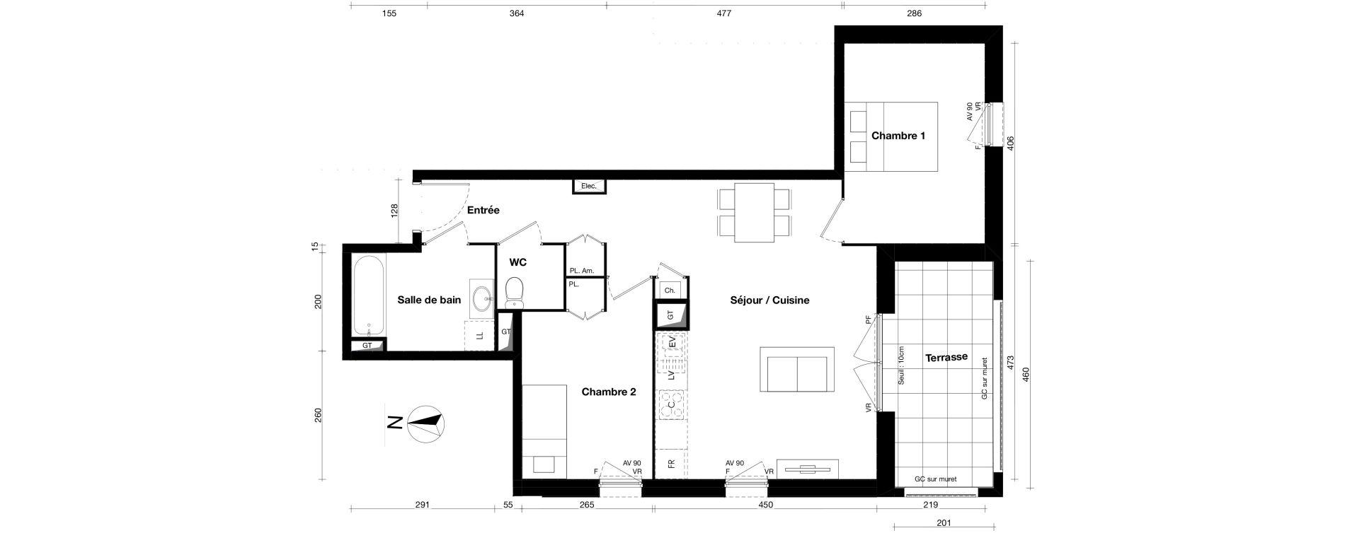 Appartement T3 de 62,37 m2 à Gleizé Centre