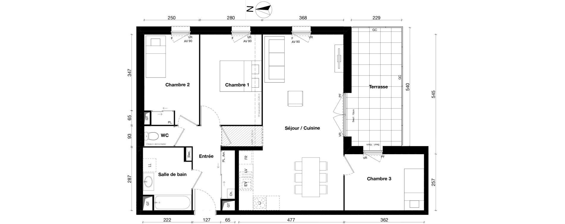 Appartement T4 de 79,26 m2 à Gleizé Centre