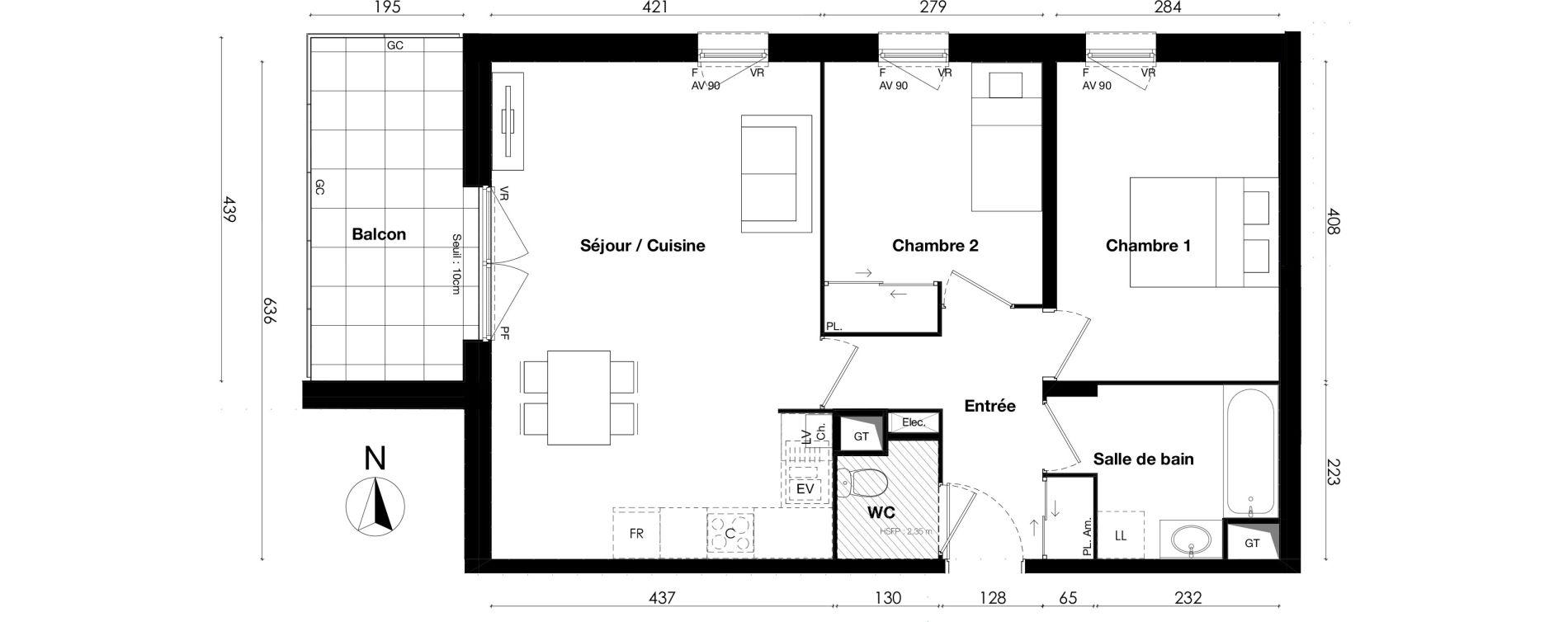 Appartement T3 de 61,24 m2 à Gleizé Centre
