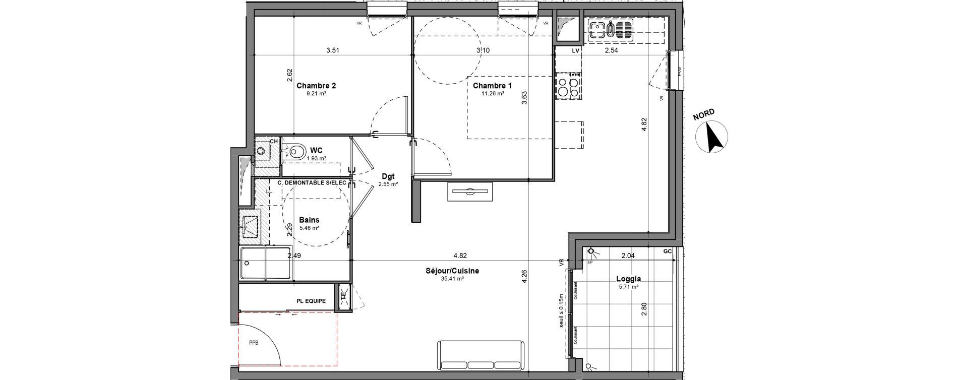 Appartement T3 de 65,82 m2 à Lyon Santy - la plaine (8eme)