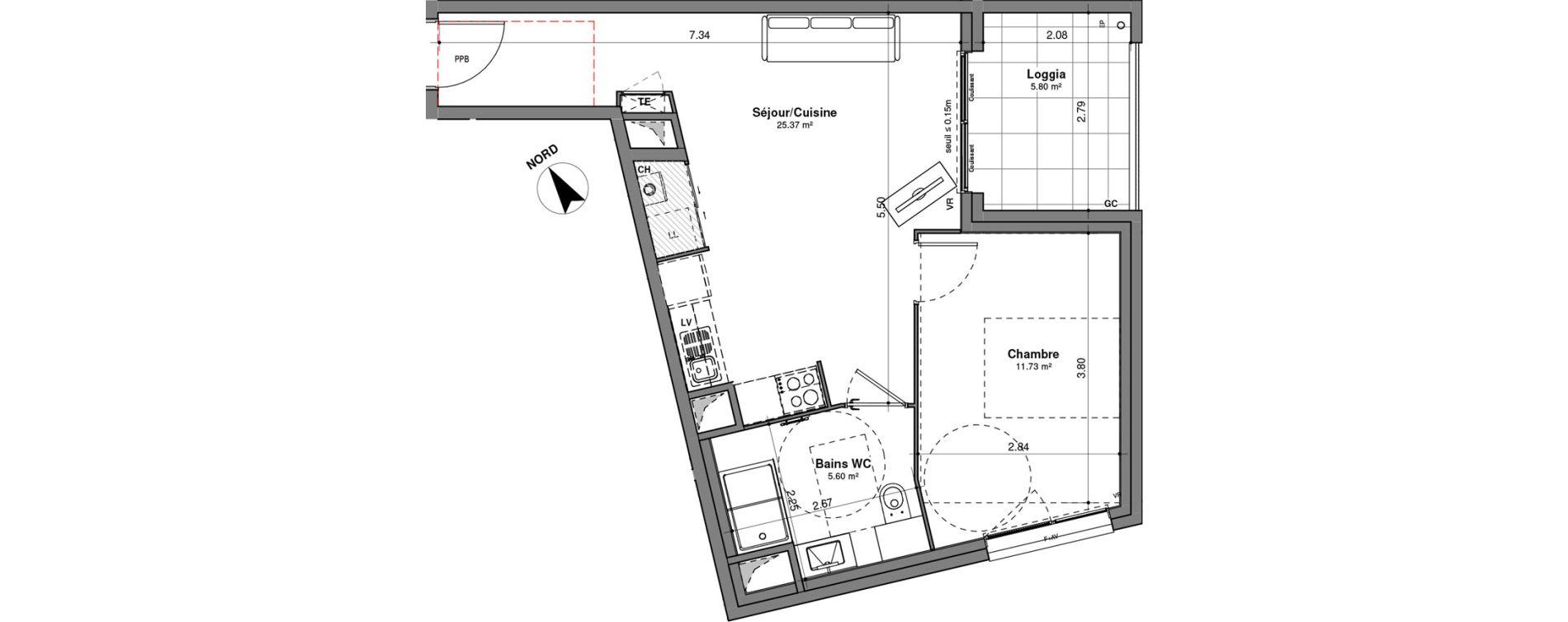Appartement T2 de 42,70 m2 à Lyon Santy - la plaine (8eme)