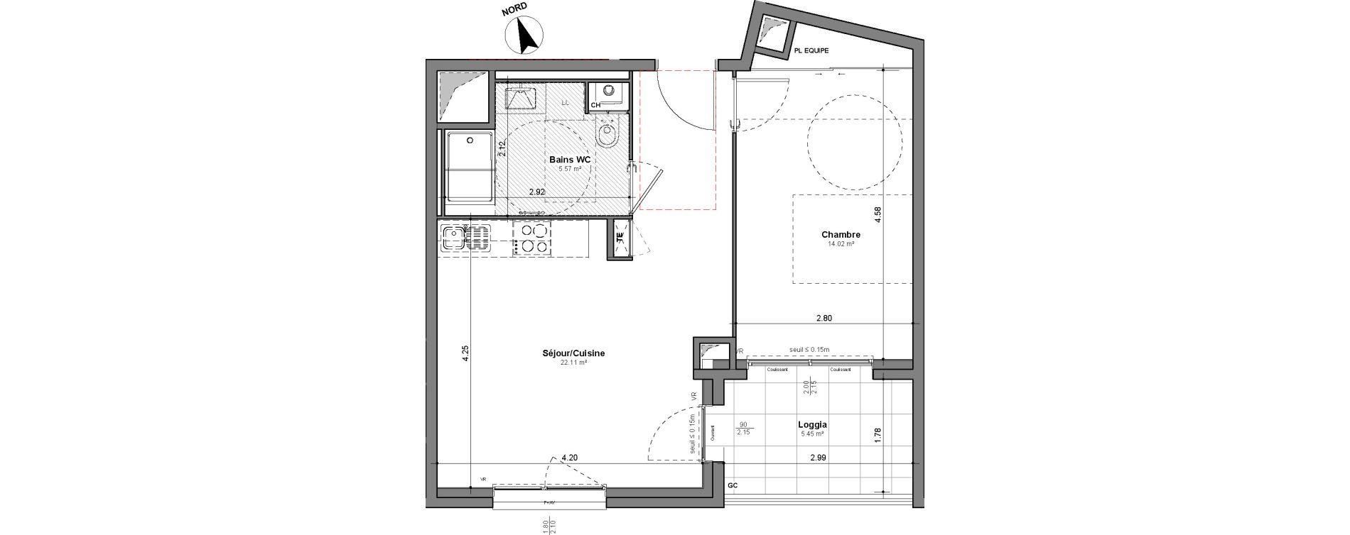 Appartement T2 de 41,70 m2 à Lyon Santy - la plaine (8eme)