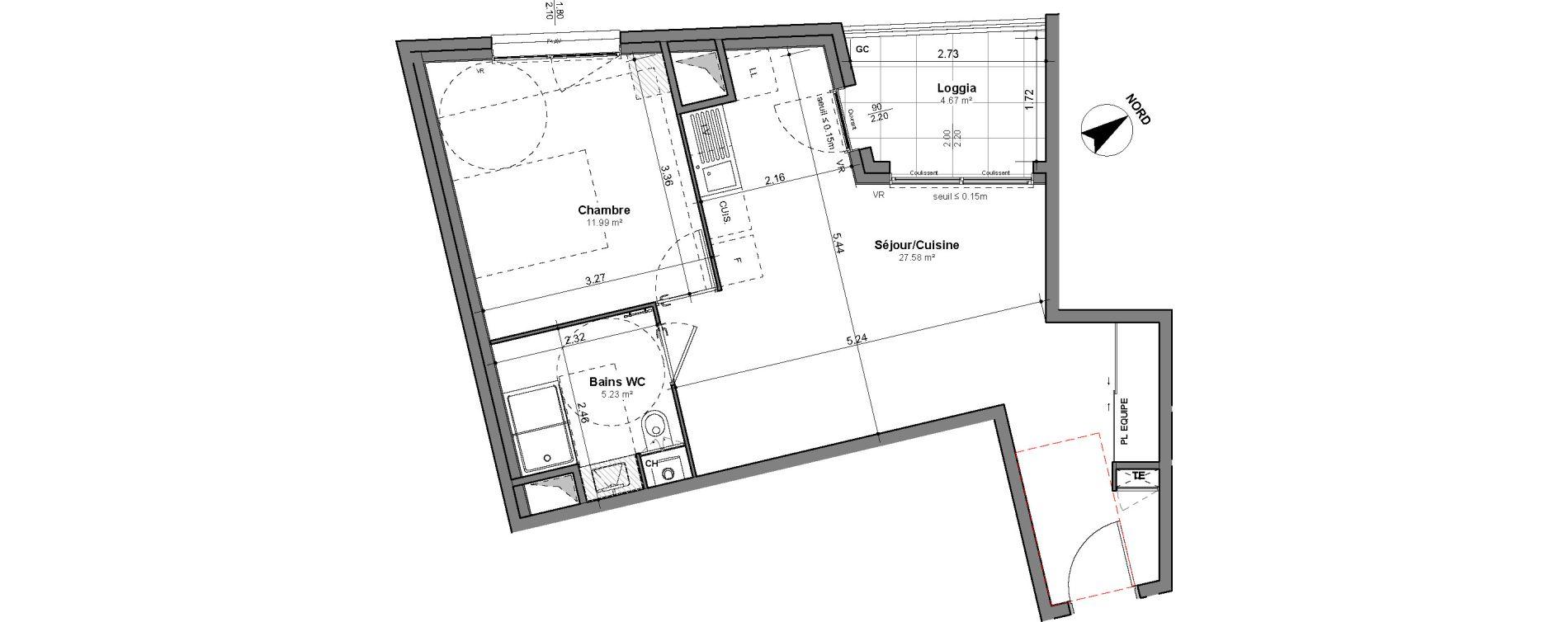 Appartement T2 de 44,80 m2 à Lyon Santy - la plaine (8eme)