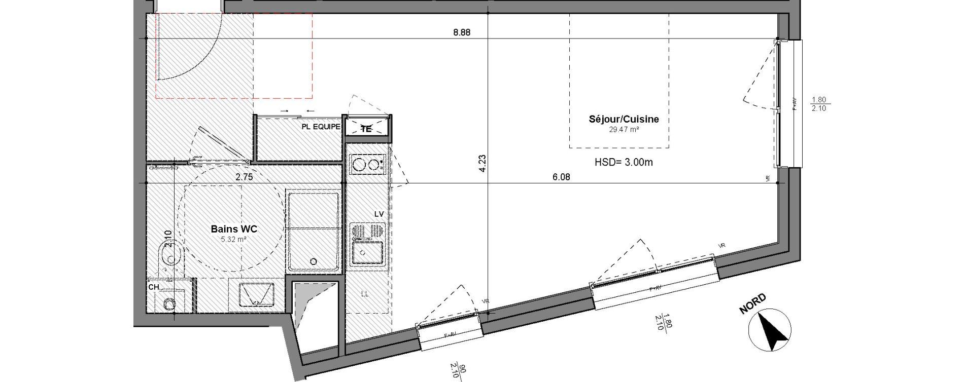 Appartement T1 de 34,79 m2 à Lyon Santy - la plaine (8eme)