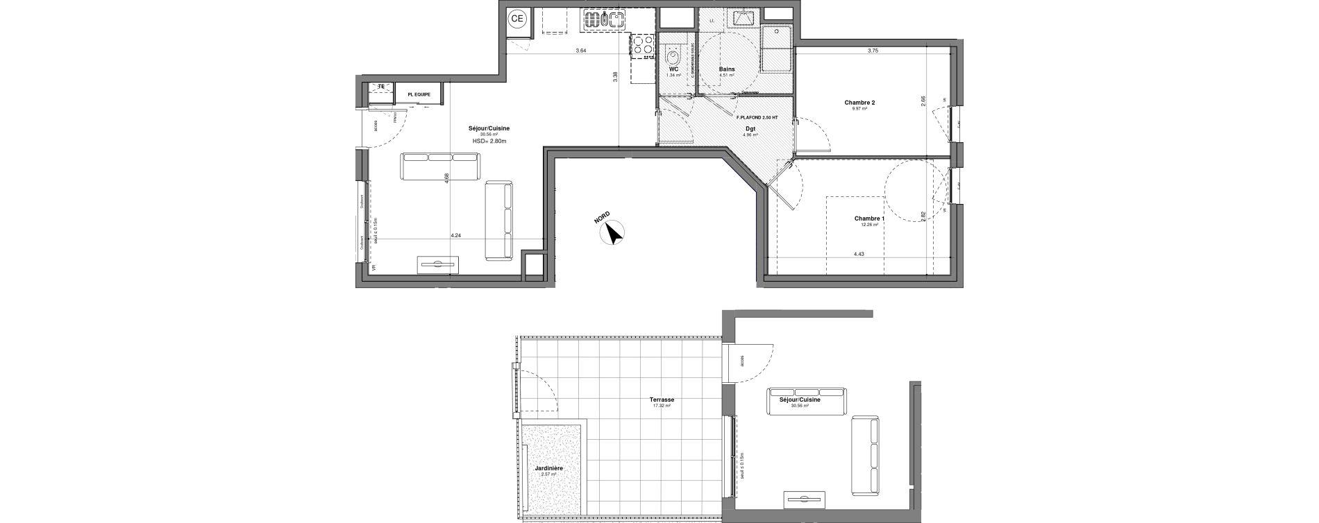 Appartement T3 de 63,60 m2 à Lyon Santy - la plaine (8eme)