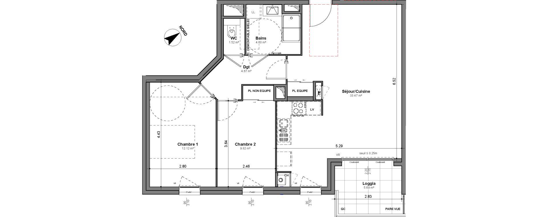 Appartement T3 de 66,20 m2 à Lyon Santy - la plaine (8eme)