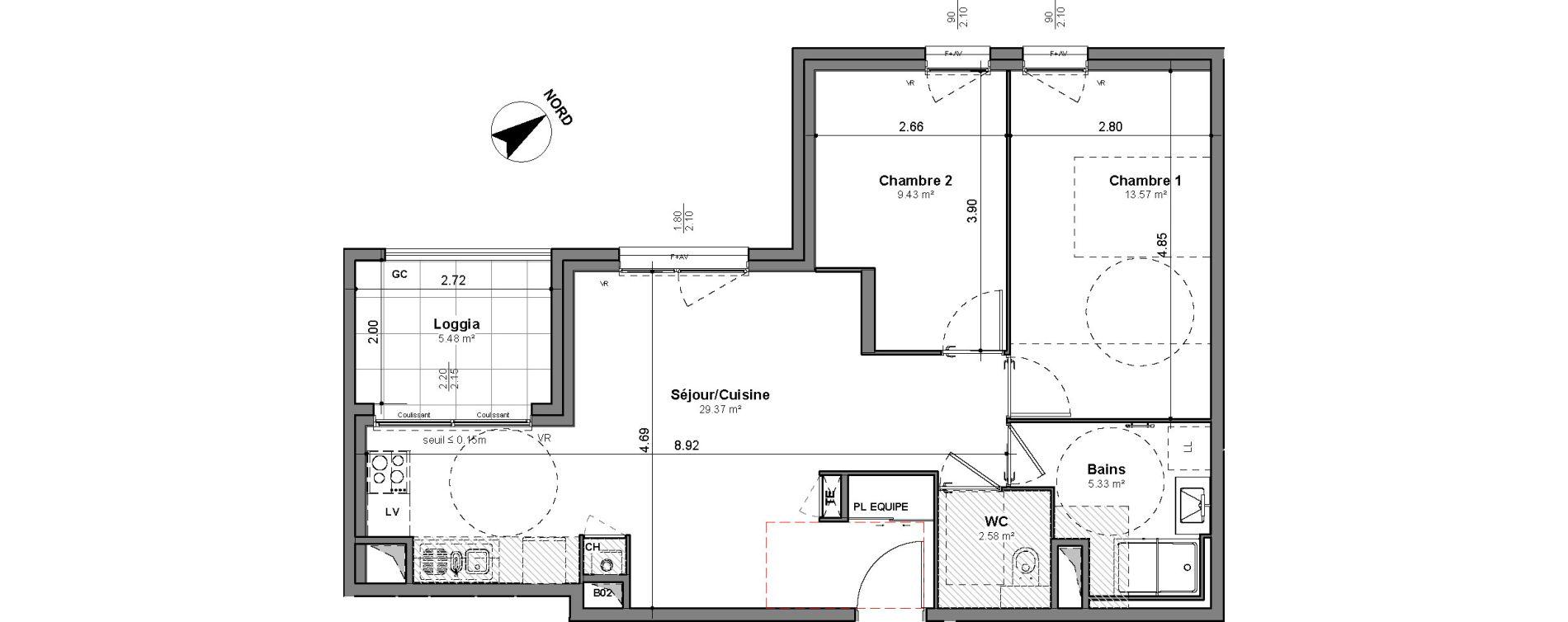 Appartement T3 de 60,28 m2 à Lyon Santy - la plaine (8eme)