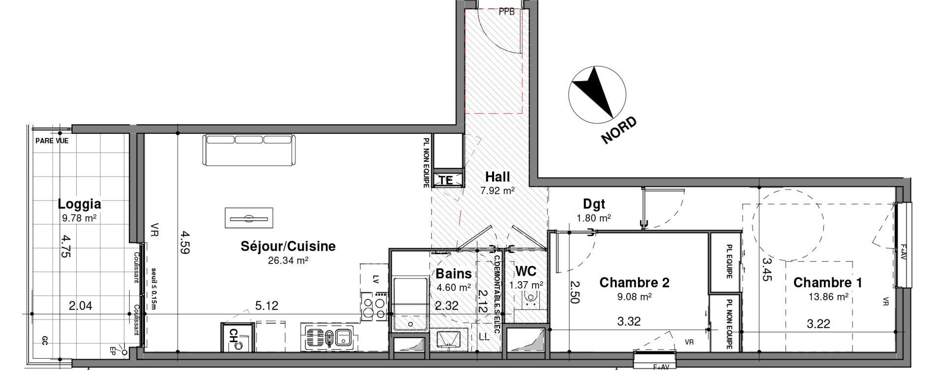 Appartement T3 de 64,97 m2 à Lyon Santy - la plaine (8eme)