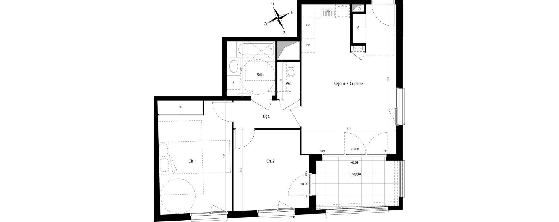 Appartement T3 de 63,10 m2 à Lyon Vaise (9eme)