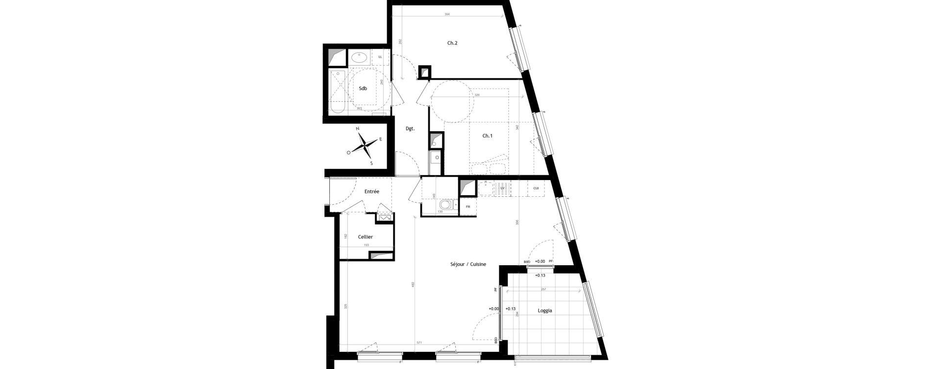 Appartement T4 de 74,05 m2 à Lyon Vaise (9eme)