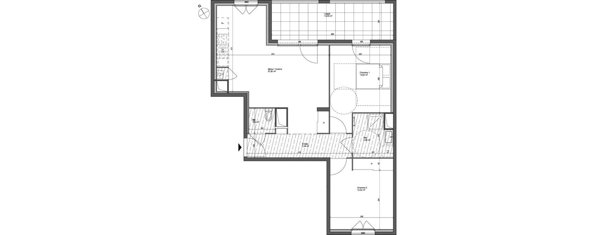 Appartement T3 de 69,25 m2 à Lyon Santy - la plaine (8eme)