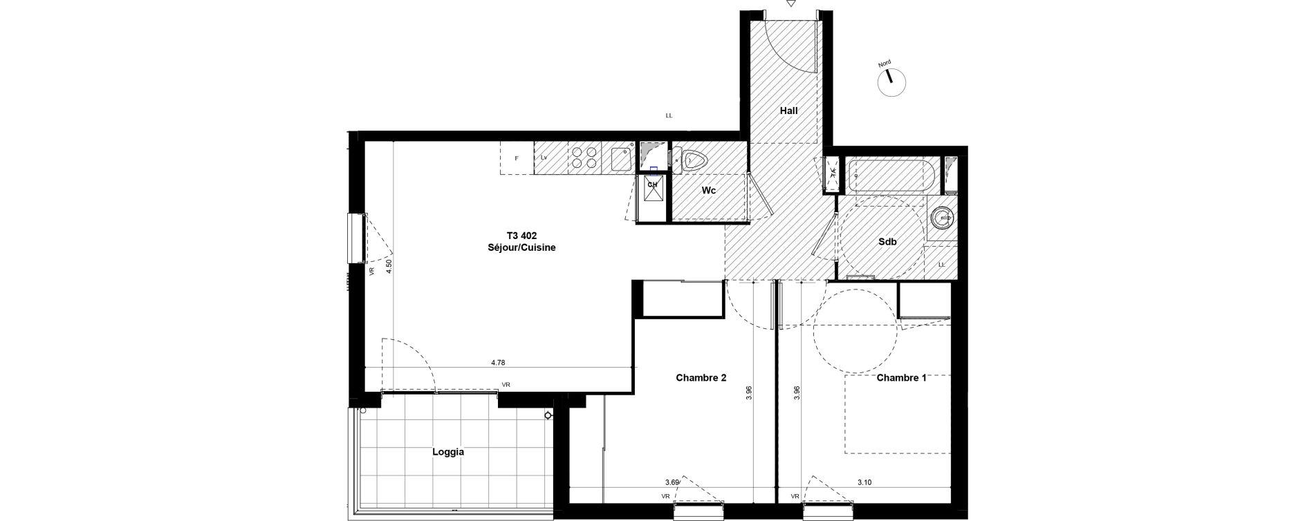 Appartement T3 de 61,30 m2 à Saint-Fons Centre