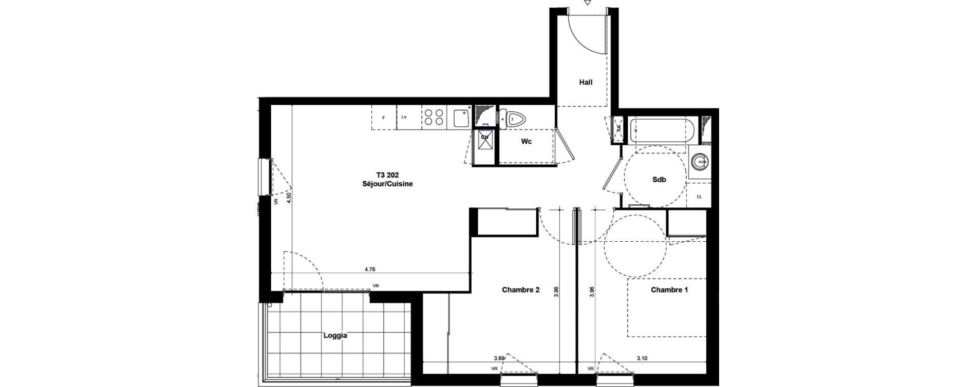 Appartement T3 de 61,37 m2 à Saint-Fons Centre