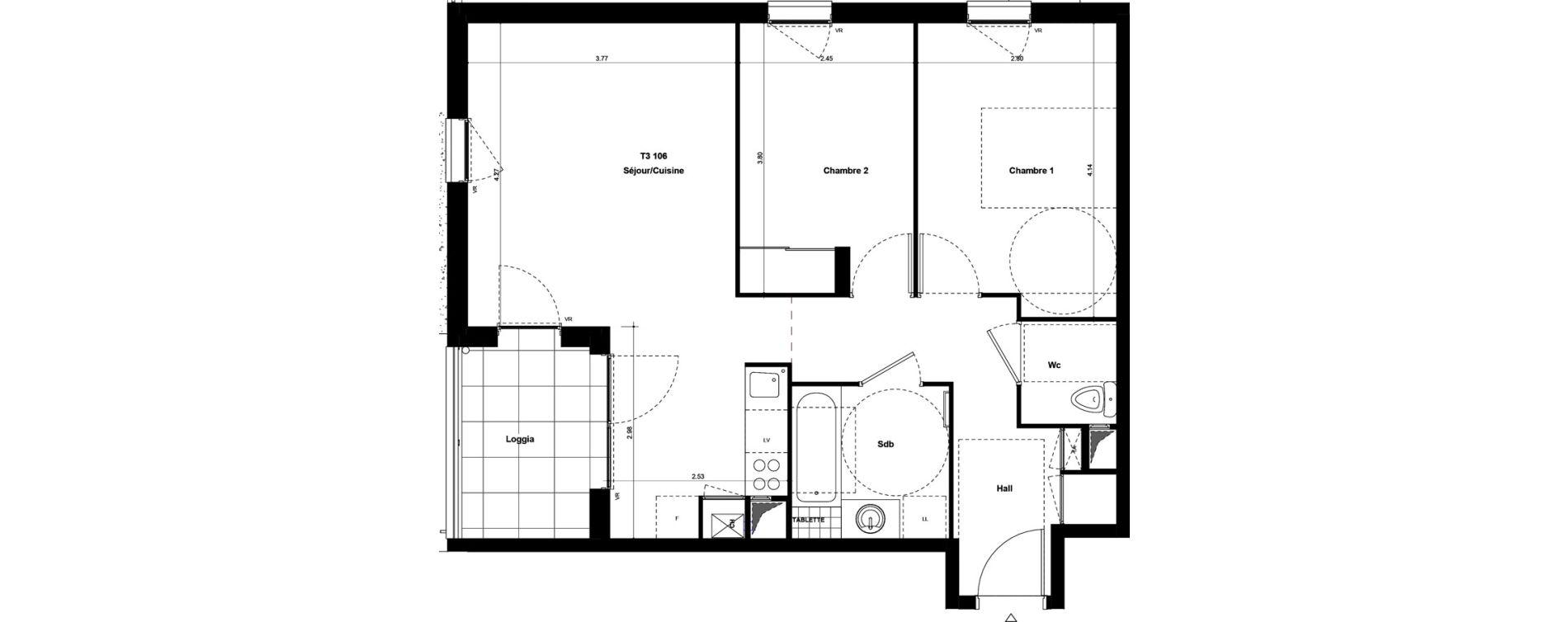 Appartement T3 de 59,00 m2 à Saint-Fons Centre
