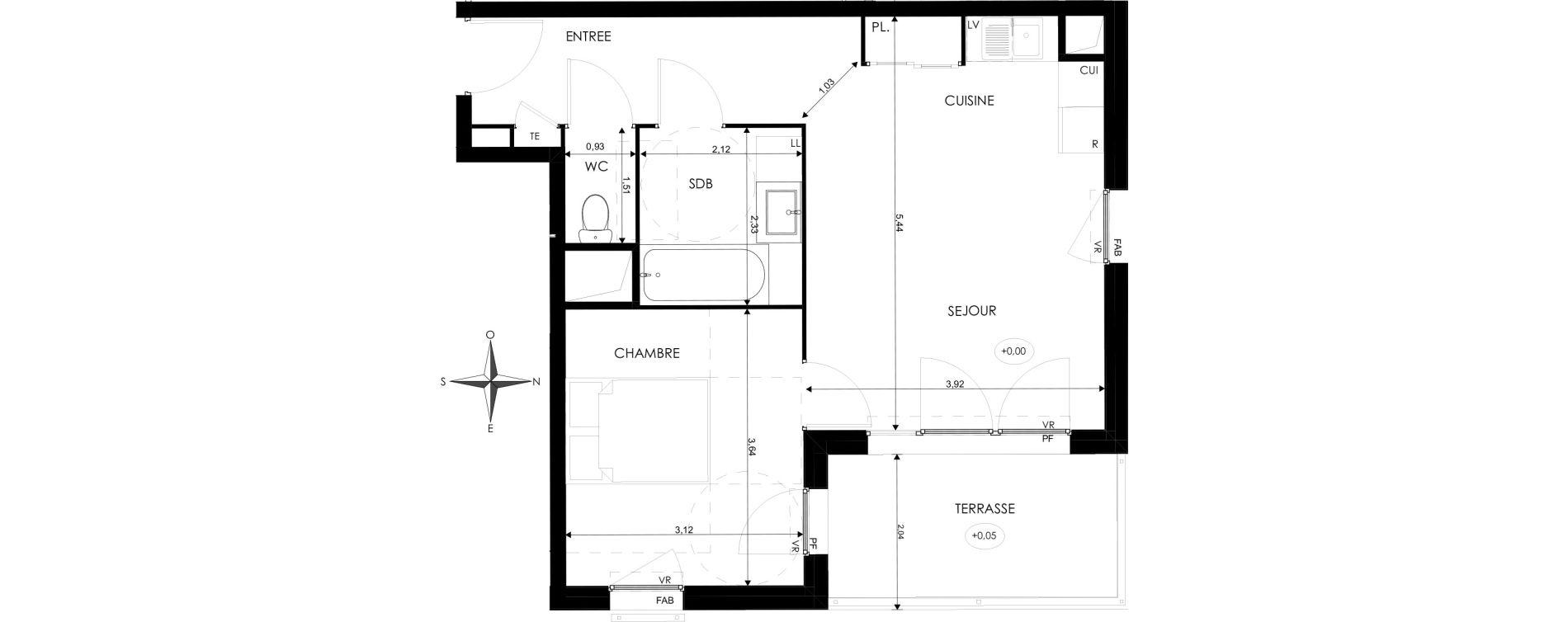 Appartement T2 de 45,22 m2 à Saint-Priest Revaison