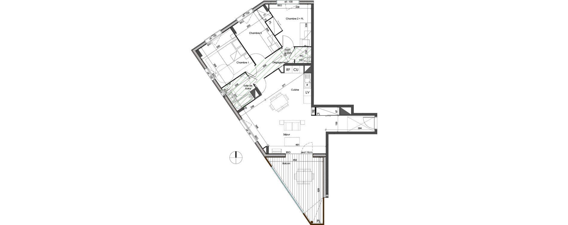 Appartement T4 de 84,44 m2 à Saint-Priest Centre
