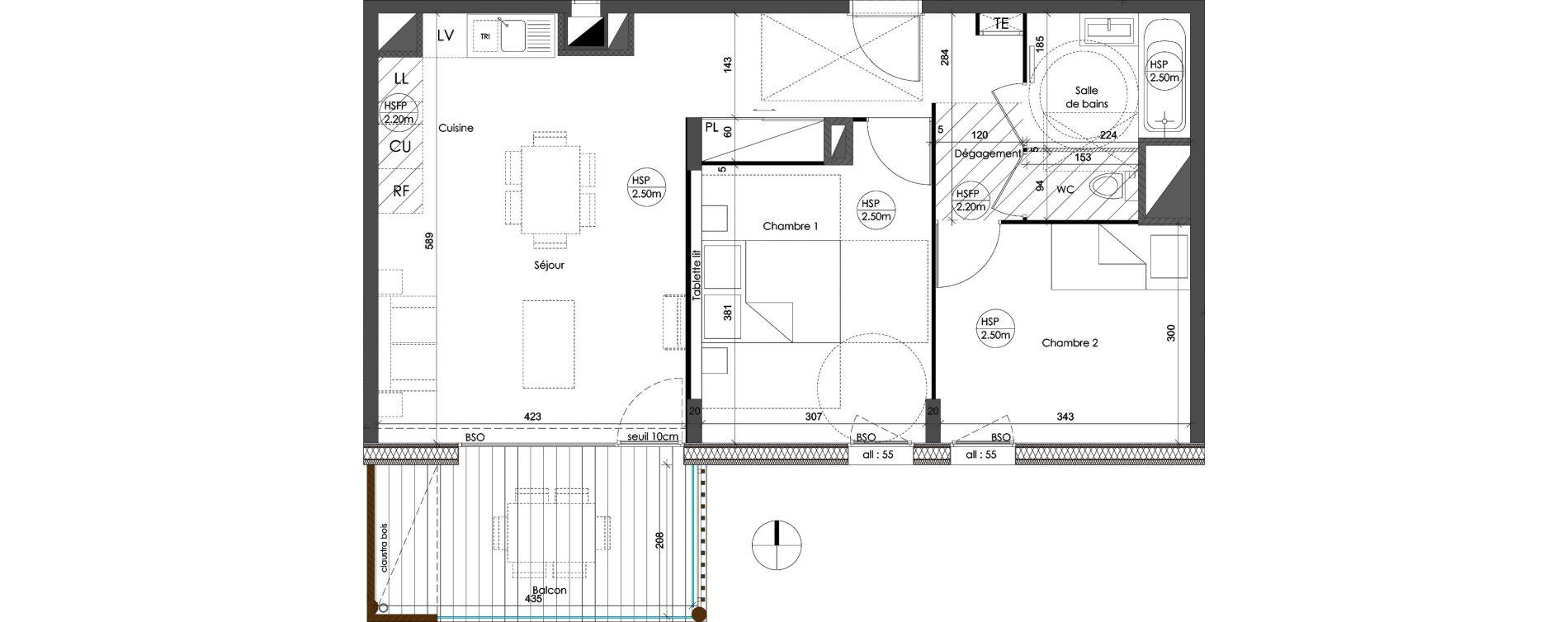 Appartement T3 de 61,98 m2 à Saint-Priest Centre