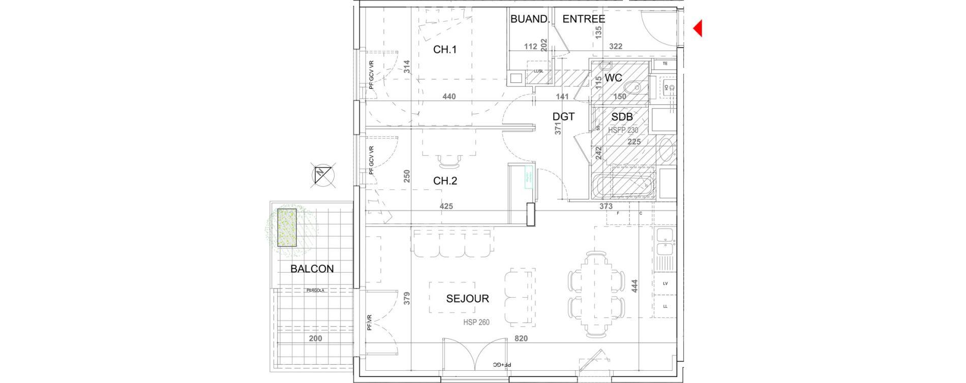 Appartement T3 de 74,13 m2 à Sainte-Foy-Lès-Lyon Plan du loup