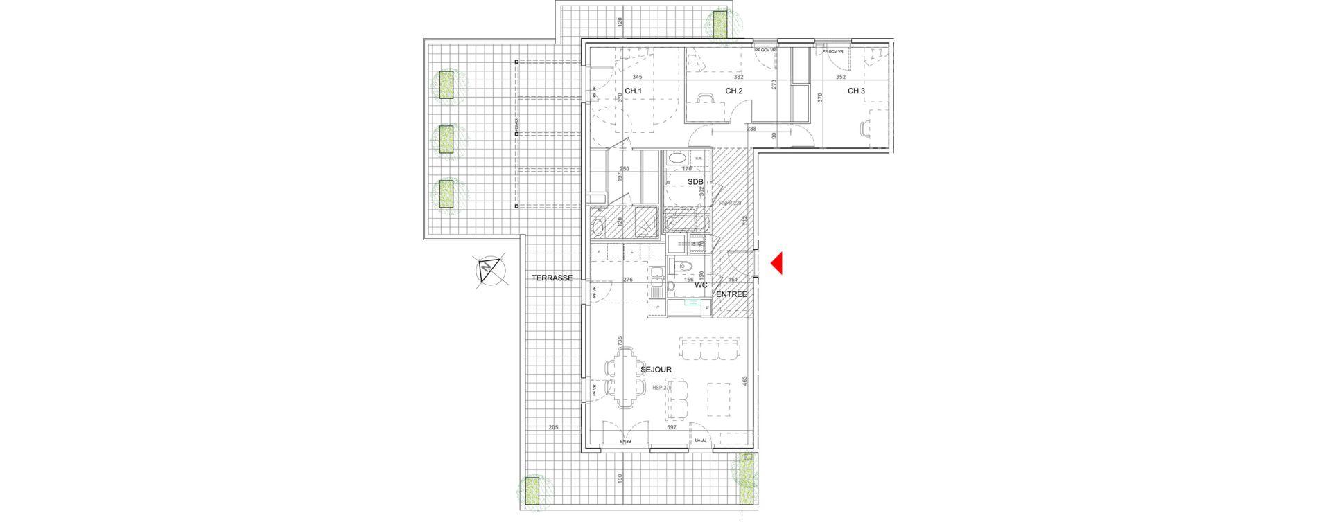 Appartement T4 de 100,63 m2 à Sainte-Foy-Lès-Lyon Plan du loup