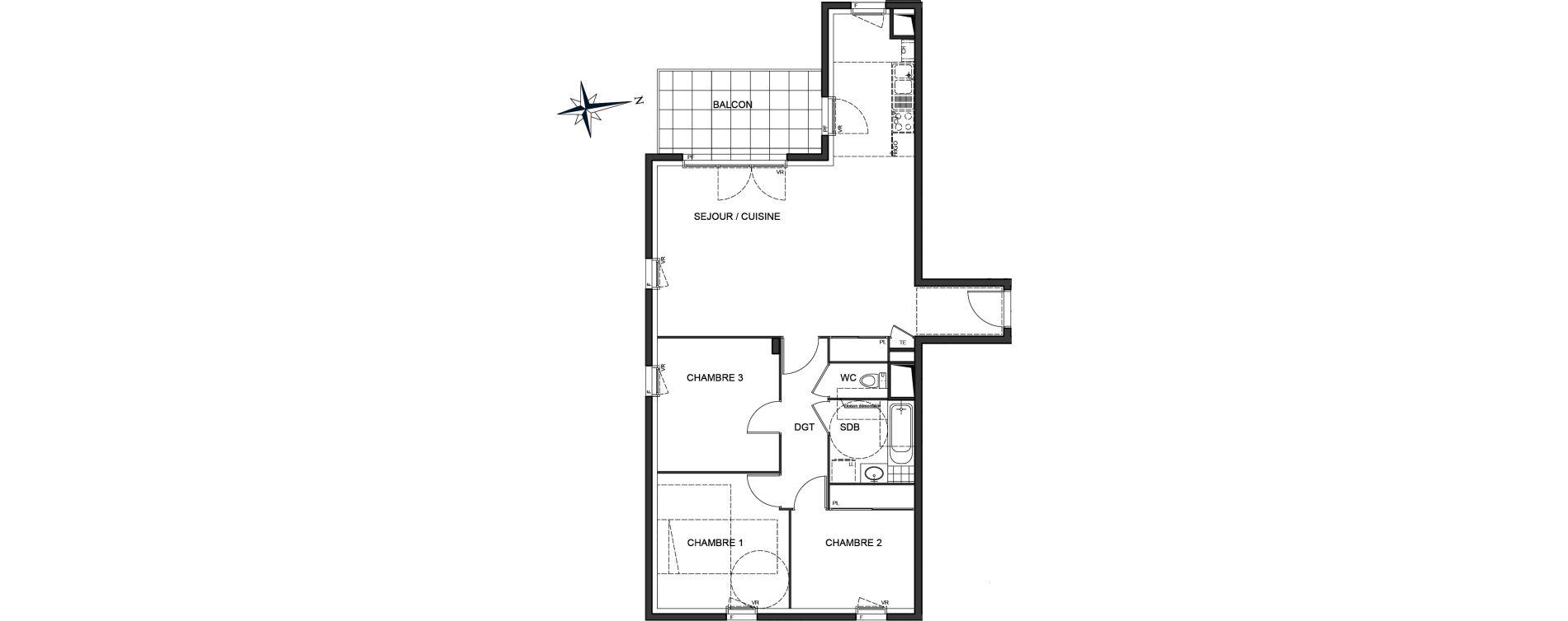 Appartement T4 de 84,41 m2 à Vaulx-En-Velin Centre