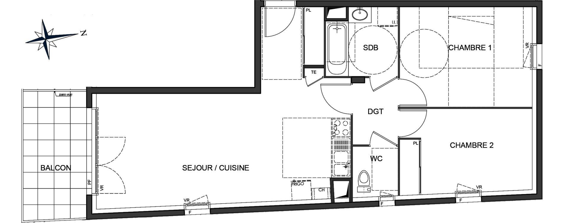 Plan T3 neuf à Vaulx-en-Velin de