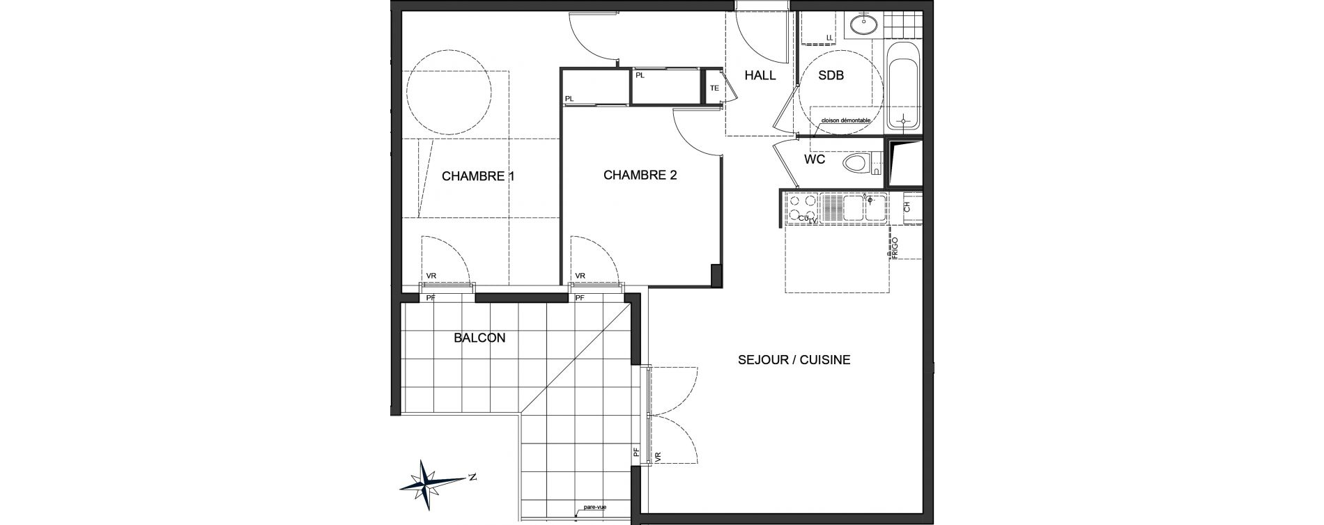 Appartement T3 de 62,57 m2 à Vaulx-En-Velin Centre