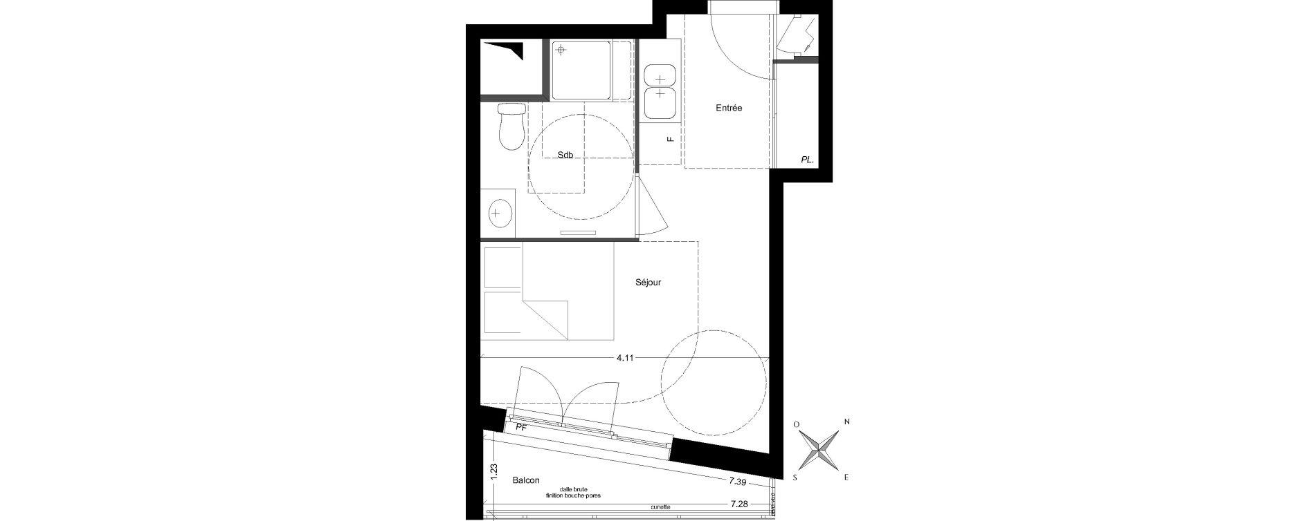 Studio de 23,50 m2 à Vénissieux Grand parilly