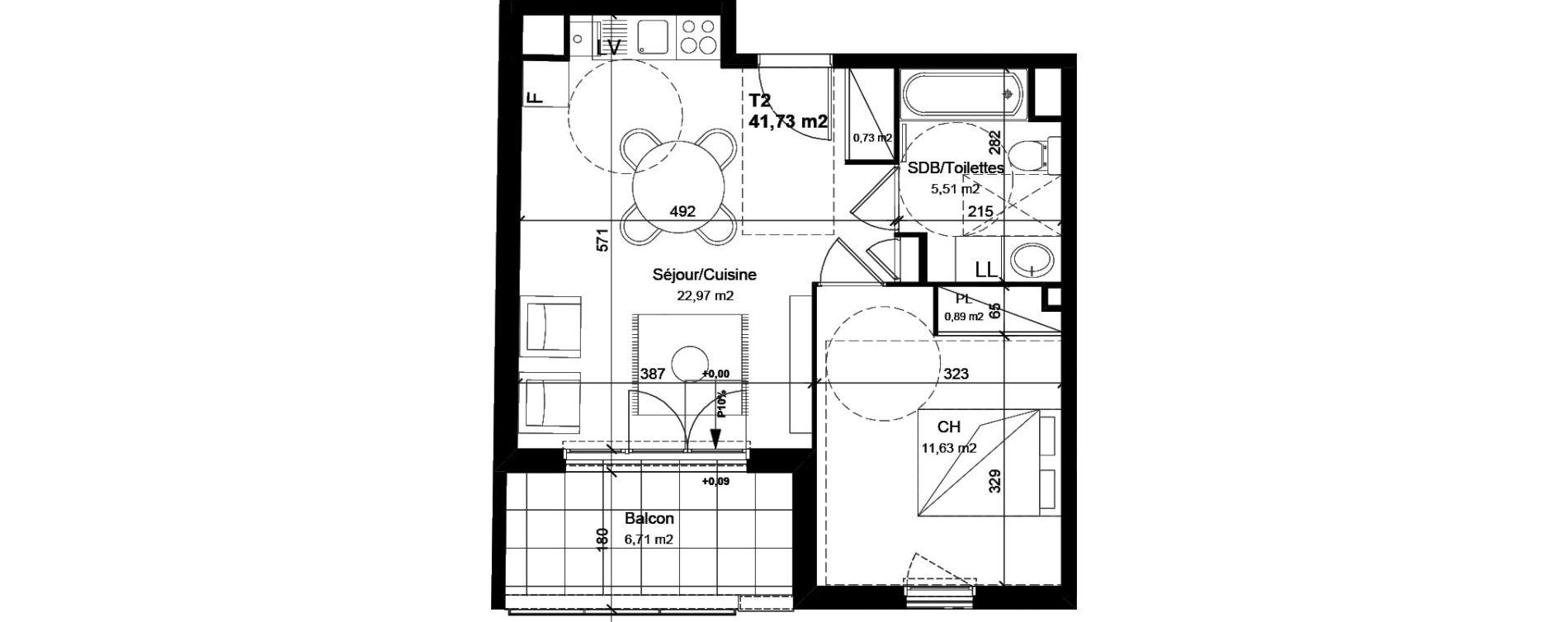 Appartement T2 de 41,73 m2 à Vénissieux Centre