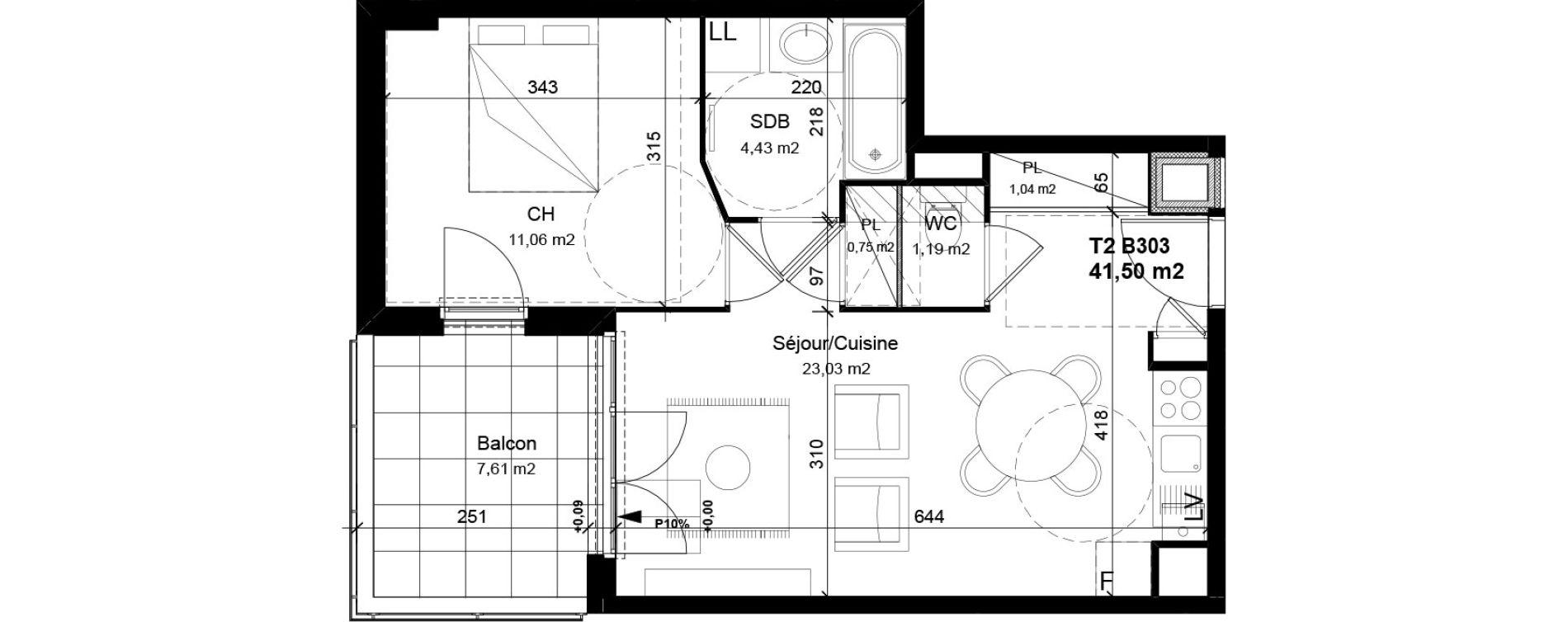 Appartement T2 de 41,50 m2 à Vénissieux Centre