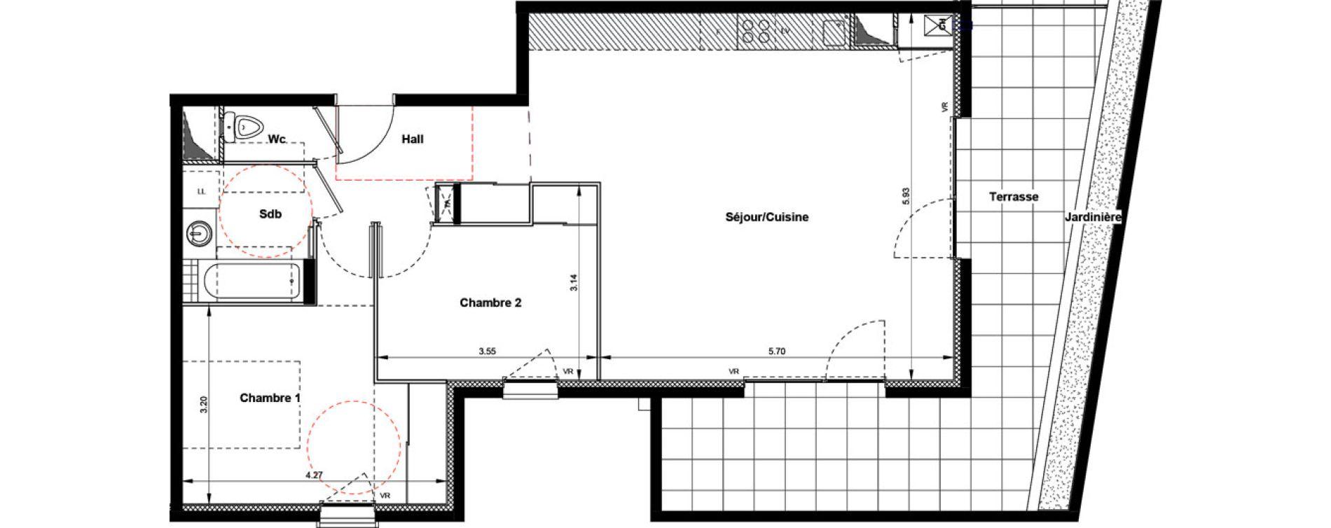 Appartement T3 de 71,59 m2 à Villefranche-Sur-Saône Centre