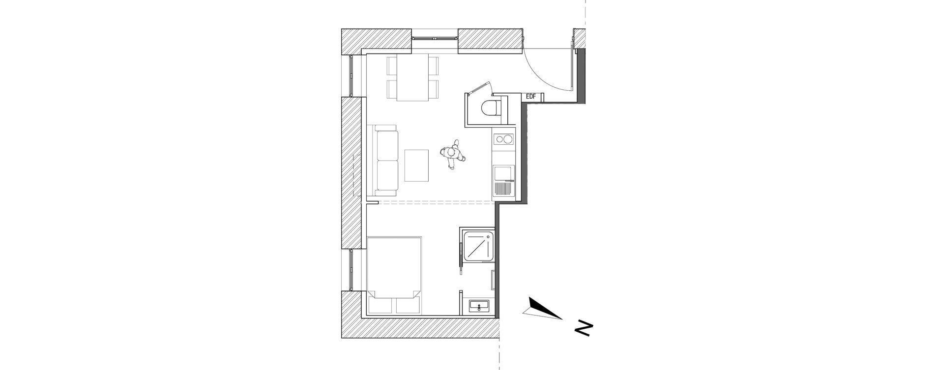 Appartement T2 de 24,70 m2 à Villeurbanne Léon blum - bon coin