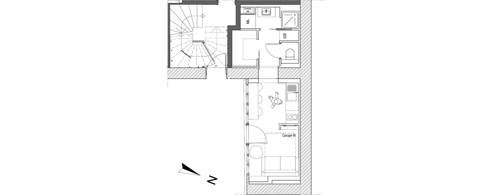 Appartement T1 de 17,29 m2 à Villeurbanne Léon blum - bon coin