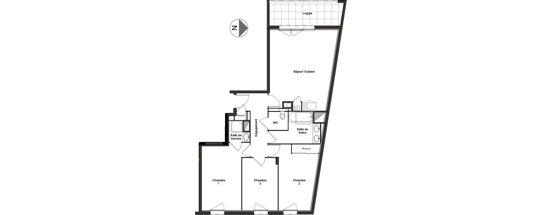 Appartement T4 de 75,62 m2 à Villeurbanne Ferrandière - maisons-neuves