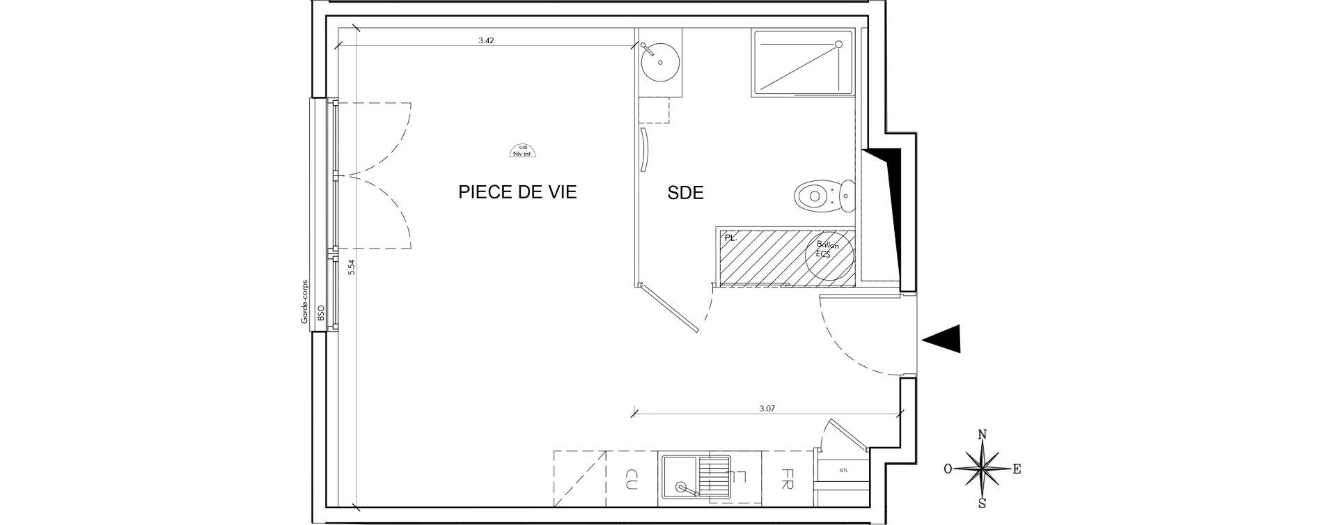Appartement T1 de 33,28 m2 à Villeurbanne Perraliere - grandclement