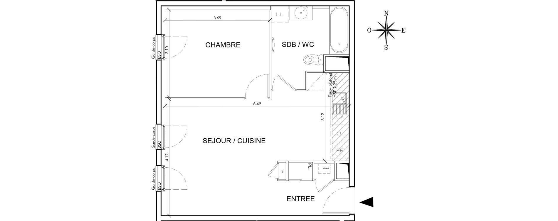 Appartement T2 de 45,77 m2 à Villeurbanne Perraliere - grandclement
