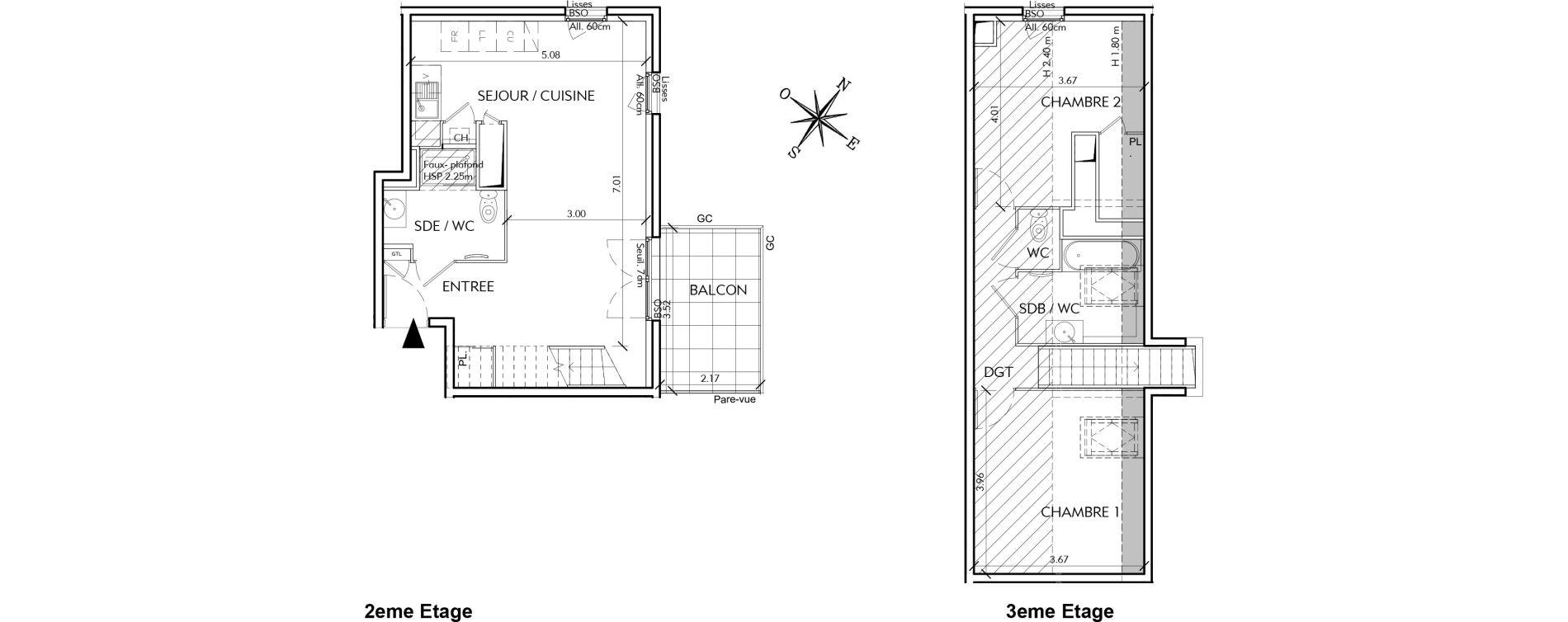 Duplex T3 de 72,39 m2 à Villeurbanne Perraliere - grandclement