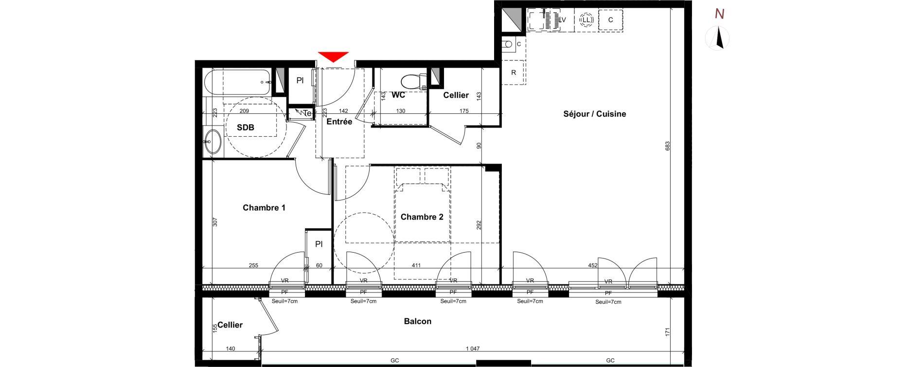Appartement T3 de 69,20 m2 à Villeurbanne Gratte-ciel - dedieu - charmettes