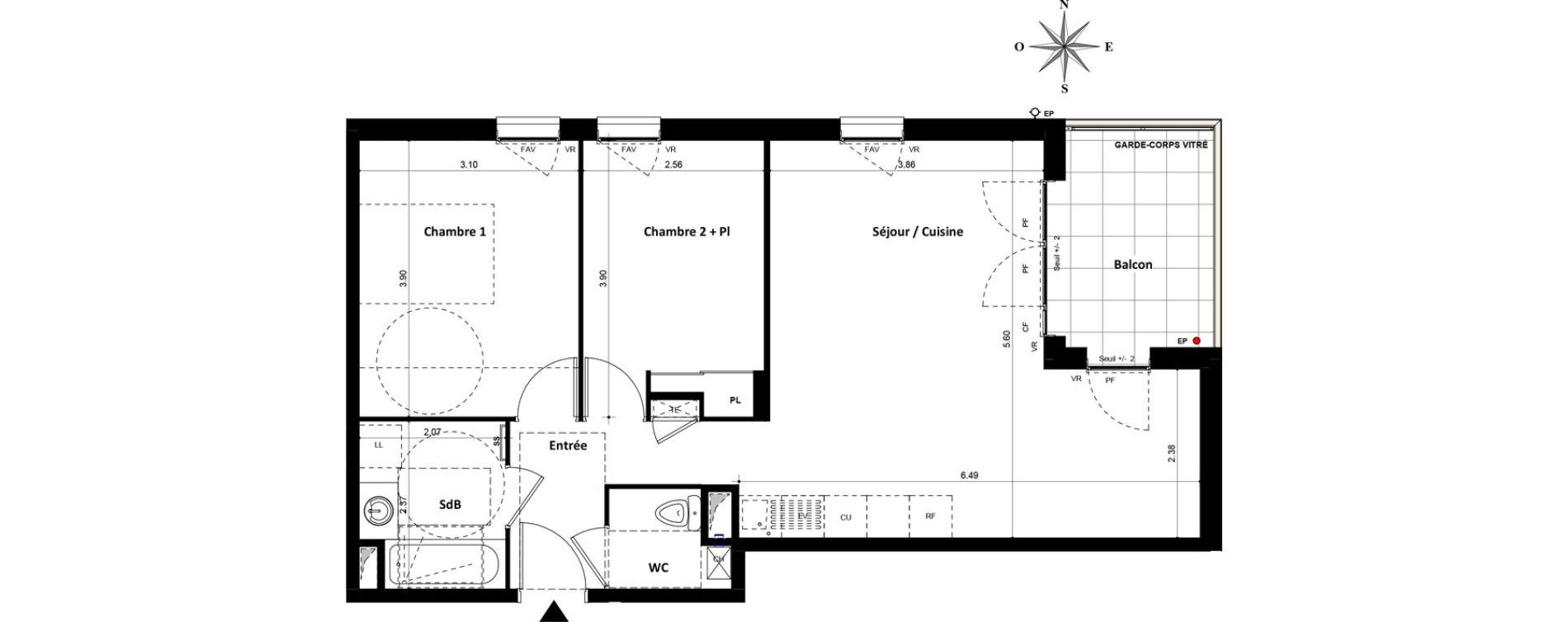 Appartement T3 de 60,92 m2 à Villeurbanne Gratte-ciel - dedieu - charmettes