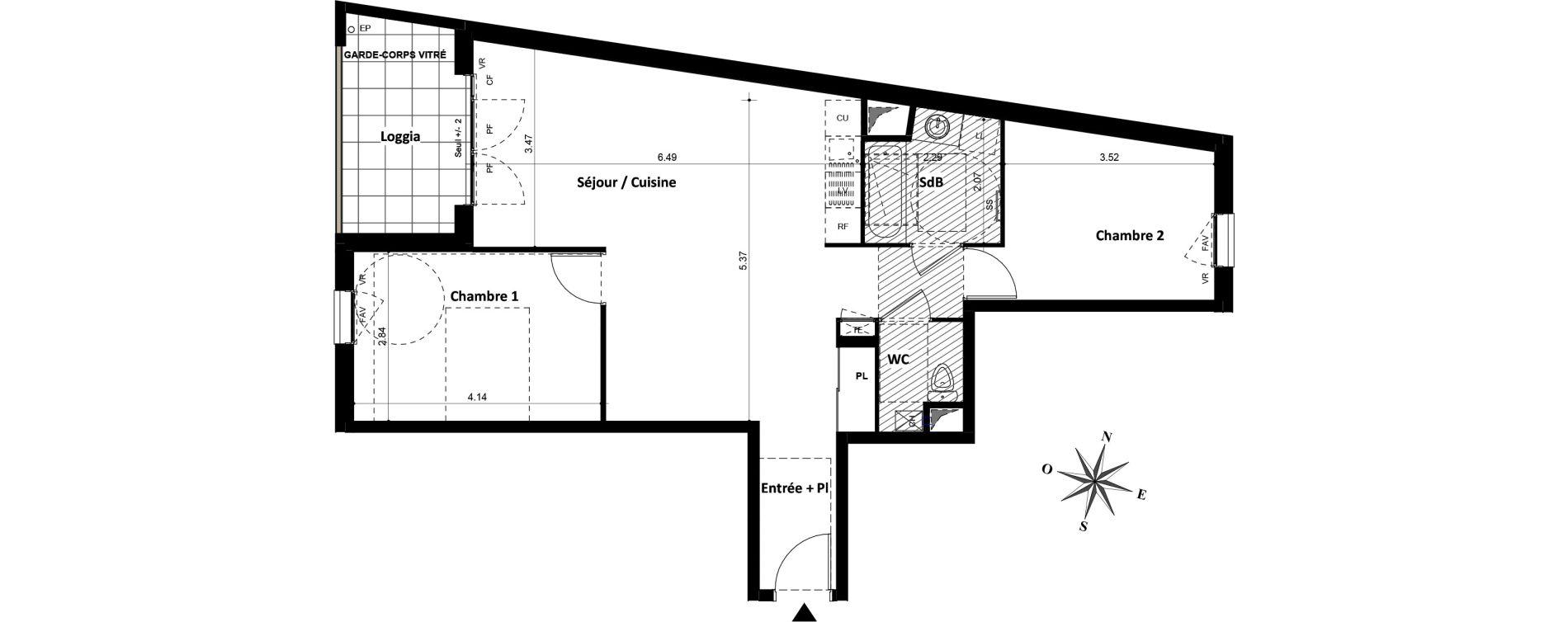 Appartement T3 de 66,67 m2 à Villeurbanne Gratte-ciel - dedieu - charmettes