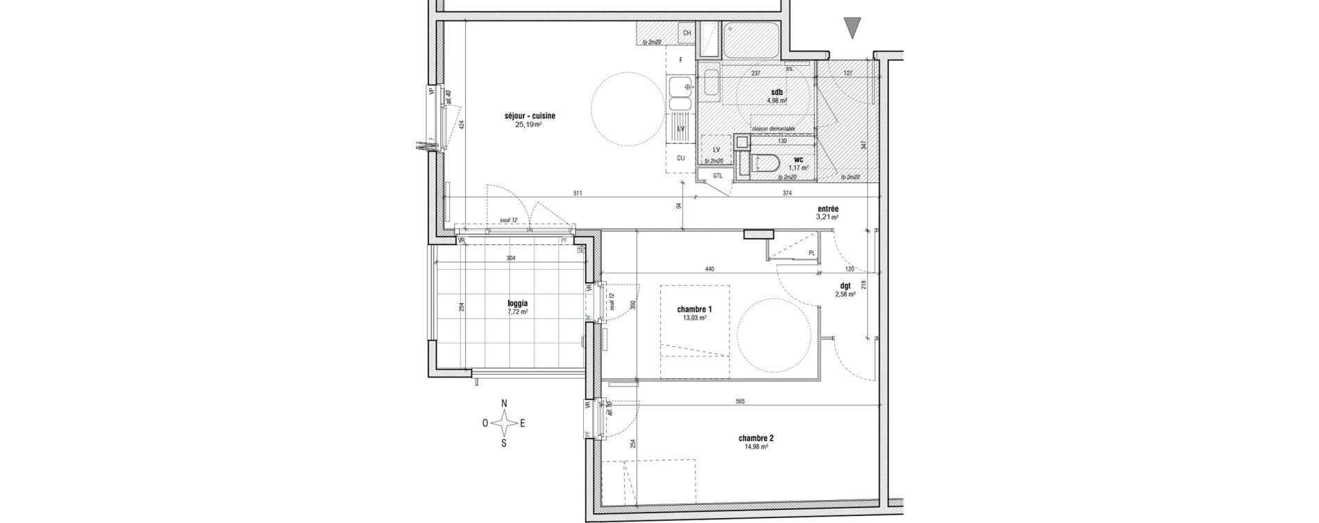 Appartement T3 de 65,24 m2 à Villeurbanne Gratte-ciel - dedieu - charmettes