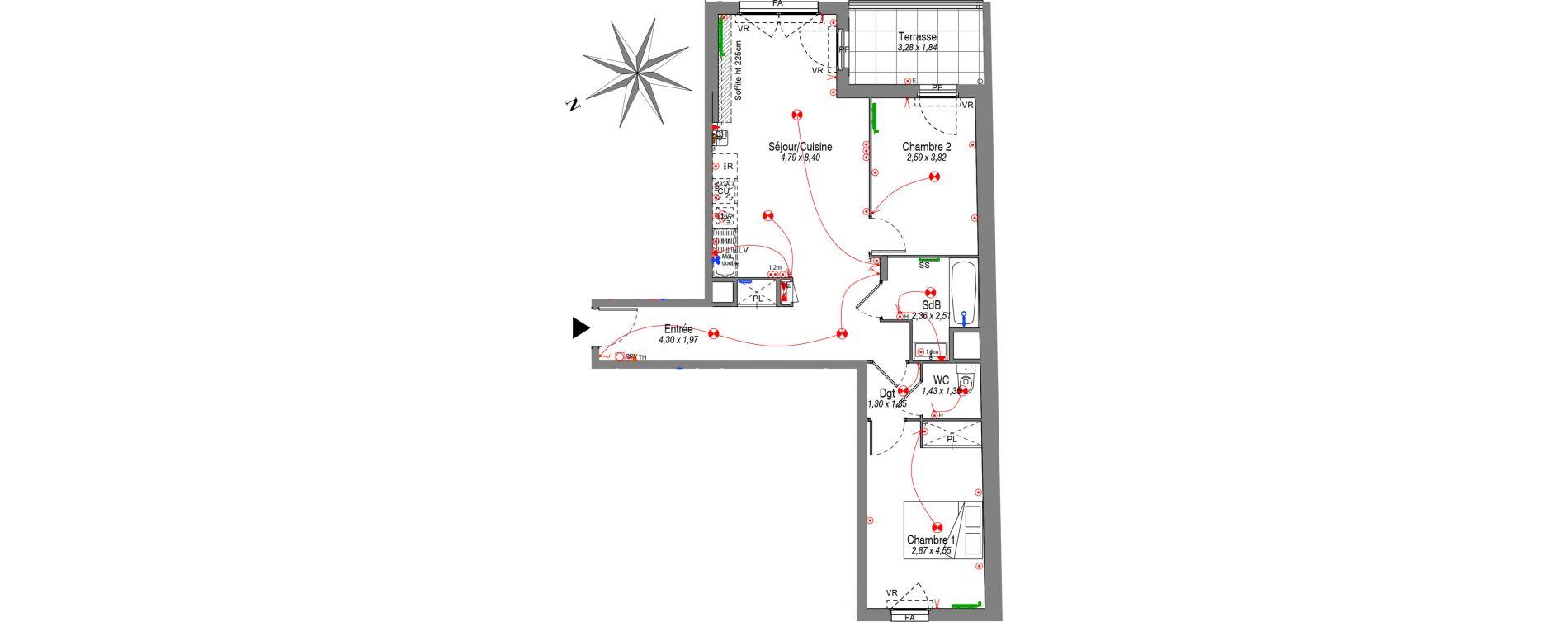 Appartement T3 de 64,91 m2 à Villeurbanne Buers - croix-luizet