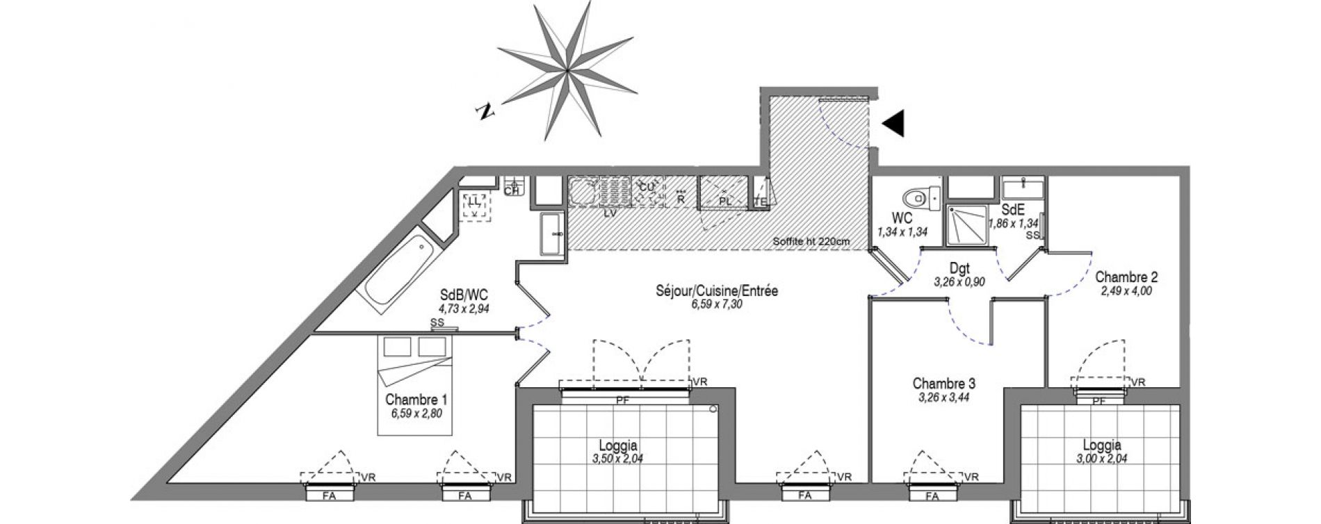 Appartement T4 de 80,30 m2 à Villeurbanne Buers - croix-luizet