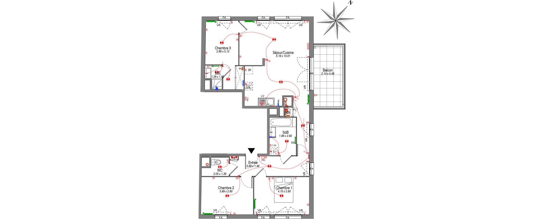 Appartement T4 de 86,49 m2 à Villeurbanne Buers - croix-luizet