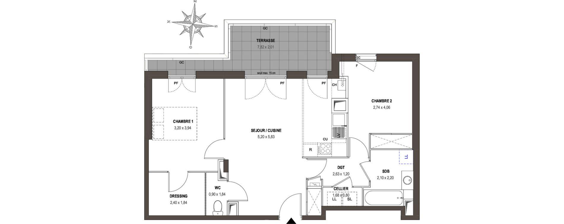 Appartement T3 de 63,30 m2 à Villeurbanne Gratte-ciel - dedieu - charmettes