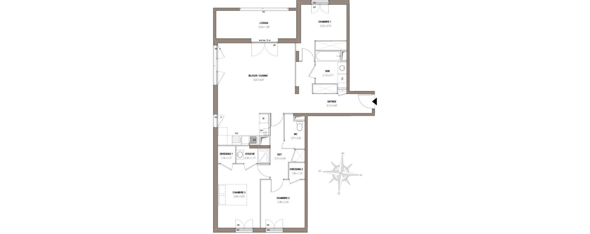Appartement T4 de 92,45 m2 à Villeurbanne Gratte-ciel - dedieu - charmettes