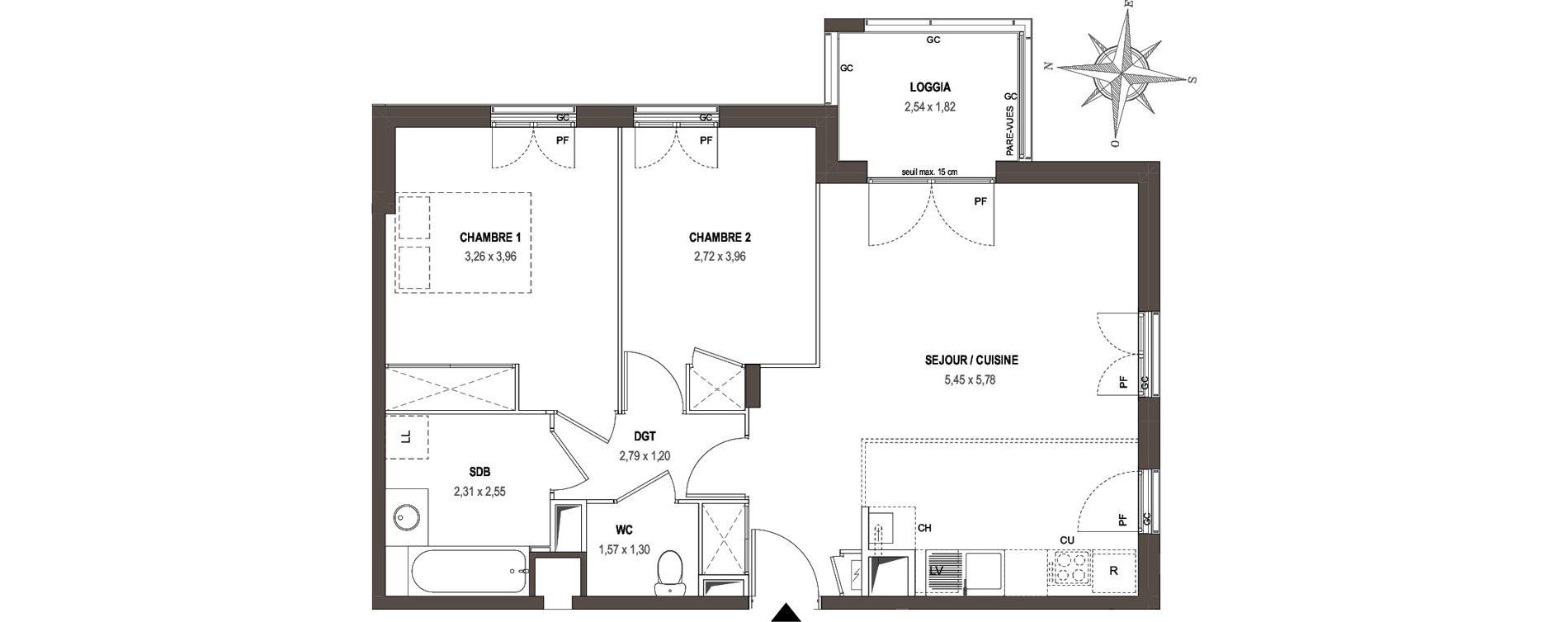Appartement T3 de 62,56 m2 à Villeurbanne Gratte-ciel - dedieu - charmettes
