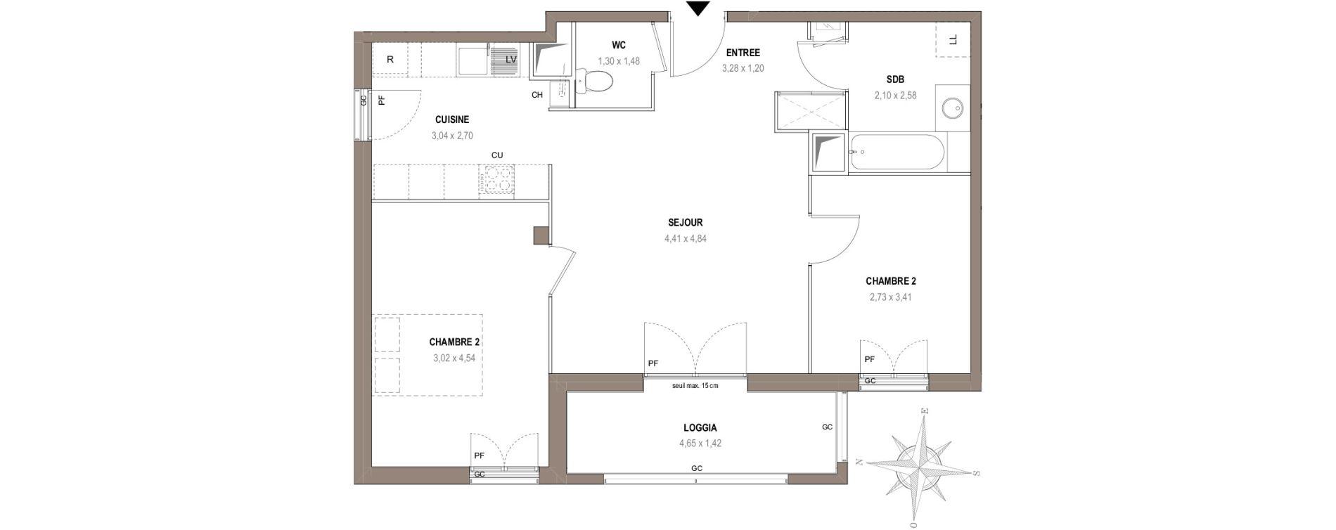 Appartement T3 de 63,50 m2 à Villeurbanne Gratte-ciel - dedieu - charmettes