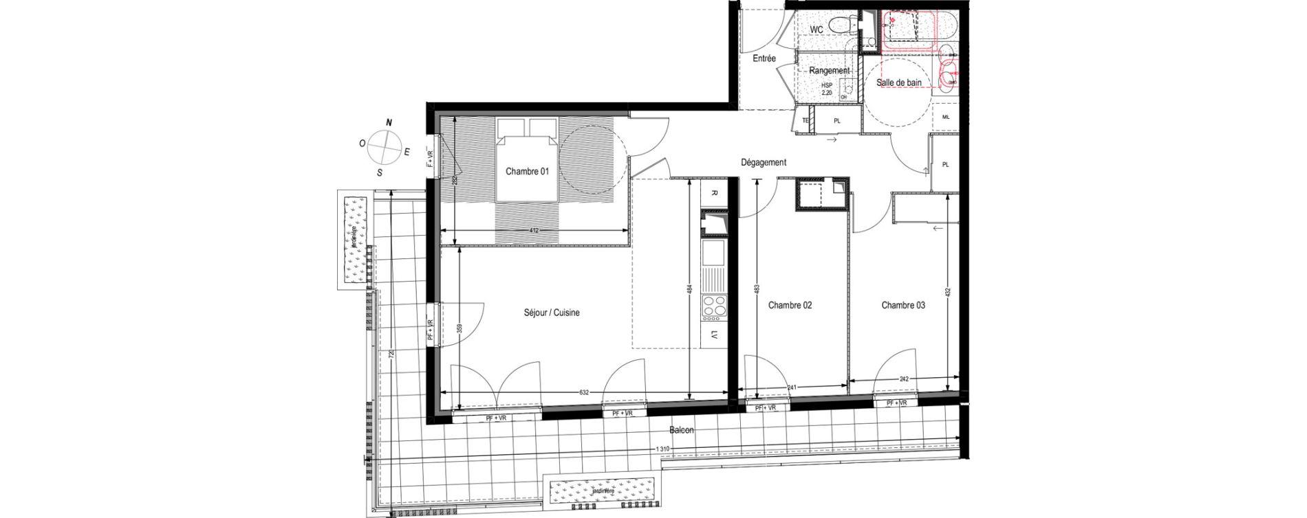 Appartement T4 de 77,06 m2 à Villeurbanne Buers - croix-luizet